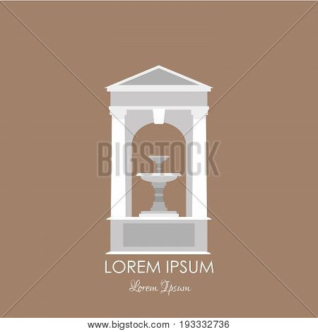 Vector illustration of classical fountain isolated on white background with place for your text. Vector template for business card and banner.