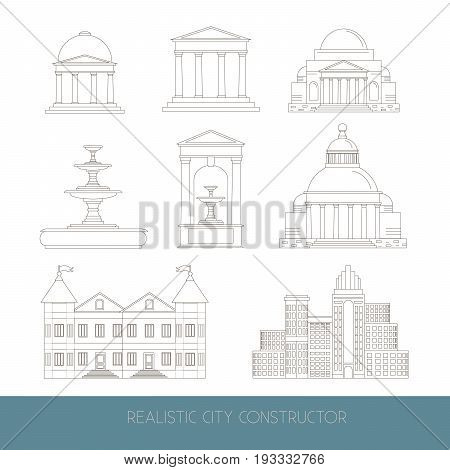 City constructor made in vector. Illustration of fountain mansion temple alcove skyscraper facade made in realistic style. Template for business card banner