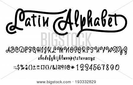 Font drawn on the basis of handwriting calligraphy, modern cursive script brush.