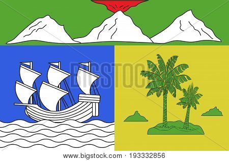 Flag of Saint-Denis is the prefecture of the French overseas region and department of Reunion in the Indian Ocean. Vector illustration