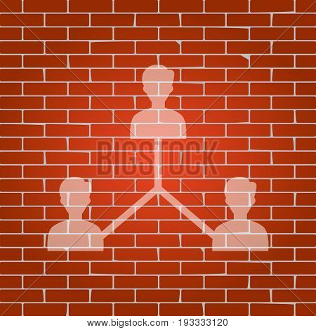 Social media marketing sign. Vector. Whitish icon on brick wall as background.