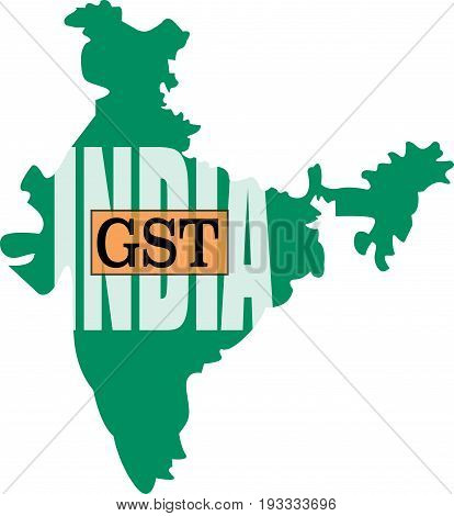 GST word in India graphic map. Goods and services tax in India conceptual illustration vector.