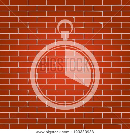The 20 seconds, minutes stopwatch sign. Vector. Whitish icon on brick wall as background.
