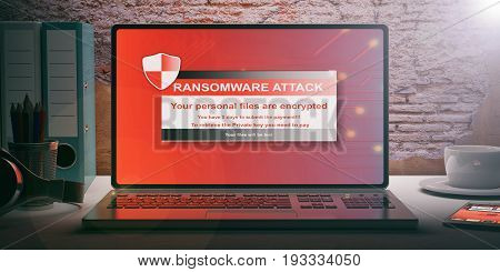 Ransomware Alert On A Laptop Screen. 3D Illustration