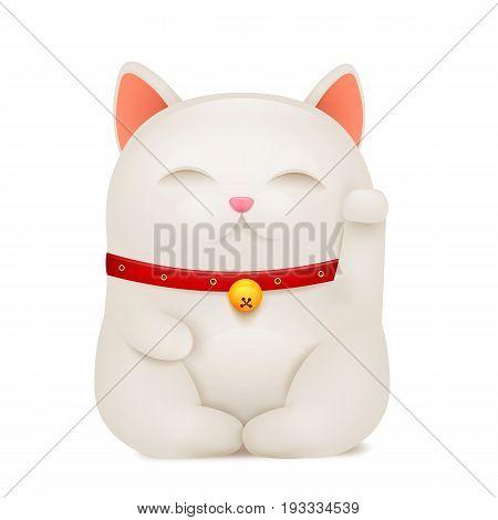 Chinese Maneki Neko lucky cat cartoon character. Vector illustration