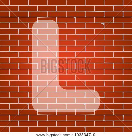 Letter L sign design template element. Vector. Whitish icon on brick wall as background.