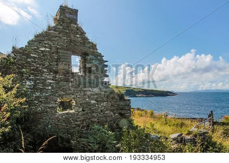 Ruin on Valentia Iceland at the Ring of Kerry County Kerry Ireland