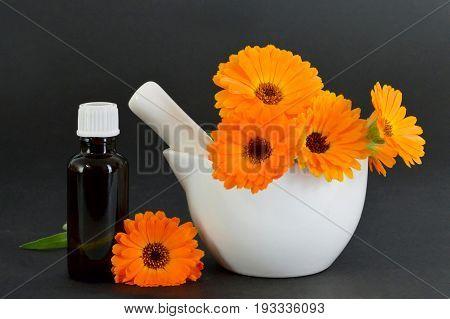 Calendula oil and calendula flowers in a mortar