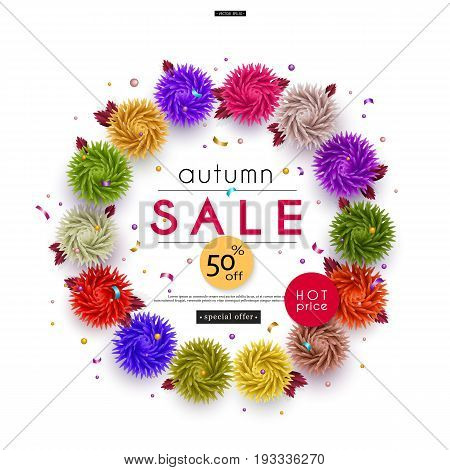 Autumn Sale. 3D stylized multicolored flowers with leaves on striped background. Abstract floral origami pattern. Circlet of flowers. Paper art. Vector illustration
