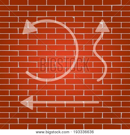 Simple set to Interface Arrows. Vector. Whitish icon on brick wall as background.