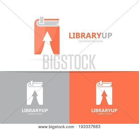 book and arrow up logo combination. Library and growth symbol or icon. Unique encyclopedia and bookstore logotype design template.