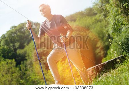 Beautiful nature. Happy sporty nice man holding walking poles and looking around while enjoying the scenery