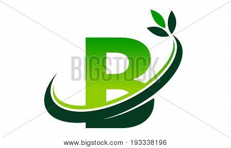 This image describe about Swoosh Leaf Letter B