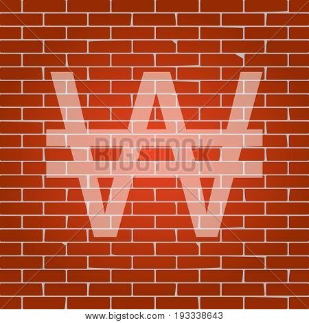Won sign. Vector. Whitish icon on brick wall as background.