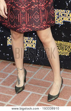 BURBANK - JUN 28: Brianna Hildebrand's shoes at the 43rd Annual Saturn Awards at The Castaway on June 28, 2017 in Burbank, California