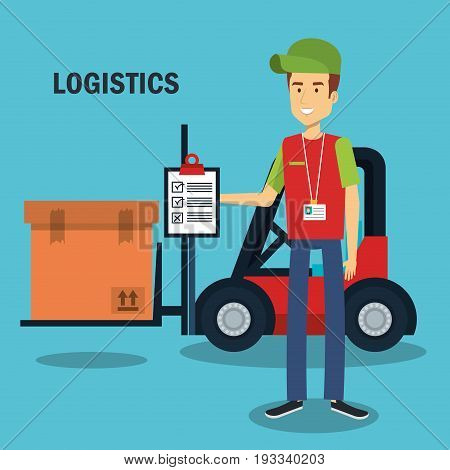 Worker holding clipboard and forklift truck with box over blue background vector illustration