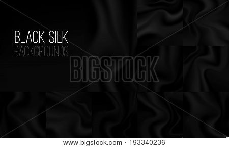 Black textile drapery horizontal backgrounds with copyspace or place for text. Silk banners for advertising design