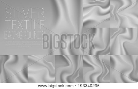 Silver textile drapery horizontal background with copyspace or place for text. Silk silver banners for advertising design