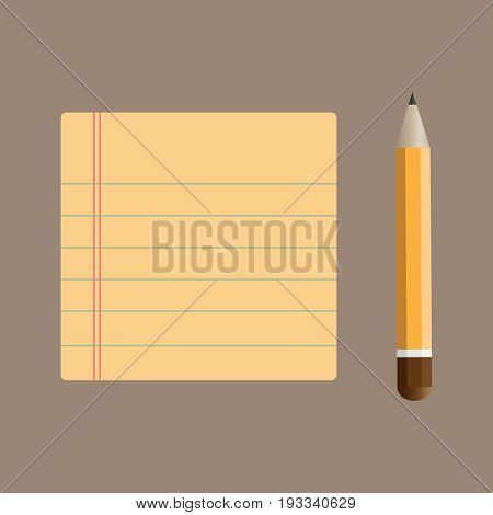 Notepad with bookmarks and pencil, vector eps10 illustration