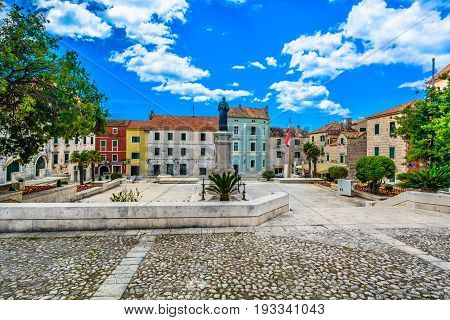 View at amazing historic square in city center of town Makarska, tourist resort in Croatia, Europe. .