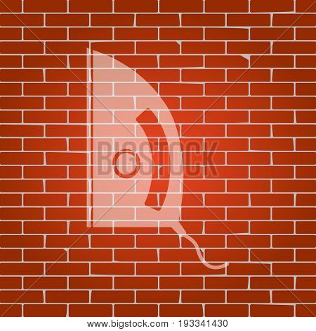 Iron sign. Vector. Whitish icon on brick wall as background.