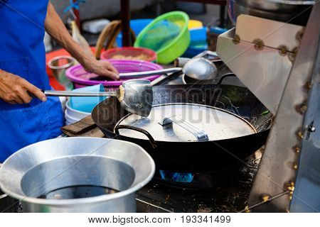 Chef Cooks Stir-fried Noodles