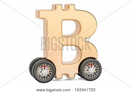 bitcoin symbol on car wheels 3D rendering isolated on white background