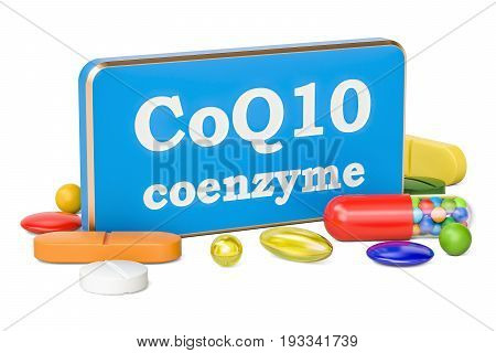 Coenzyme Q10 concept 3D rendering isolated on white background