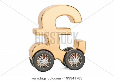 pound sterling symbol on car wheels 3D rendering isolated on white background