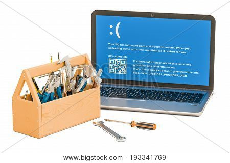 Repair and service of notebook concept. Laptop with tools 3D rendering
