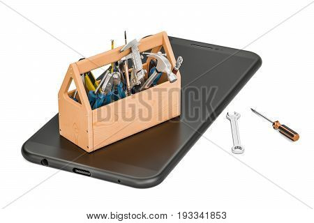 service and repair smartphone concept 3D rendering
