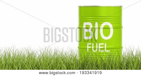 barrel with bio fuel on the grass 3D rendering