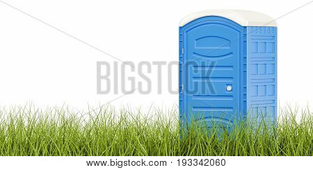 Portable blue toilet on the green grass eco toilet concept. 3D rendering isolated on white background