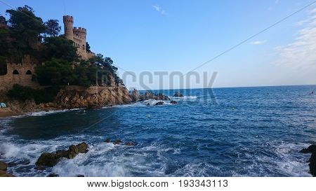 Coastal image of the castle of Lloret De Mar Costa Brava Spain