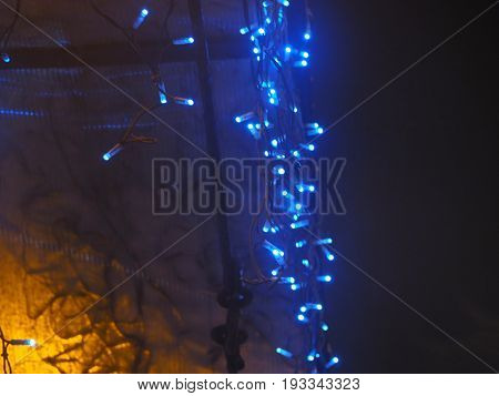 Colorful New Year Luminous Garlands lighting in blue color