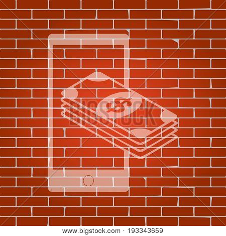Payment, refill your mobile smart phone, . Vector. Whitish icon on brick wall as background.