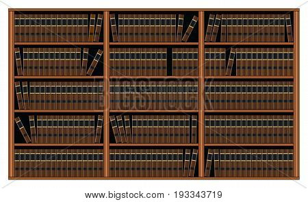 Bookcase With Books - Library is an illustration of a background of bookshelves filled with books. This could represent  library or personal book collection.