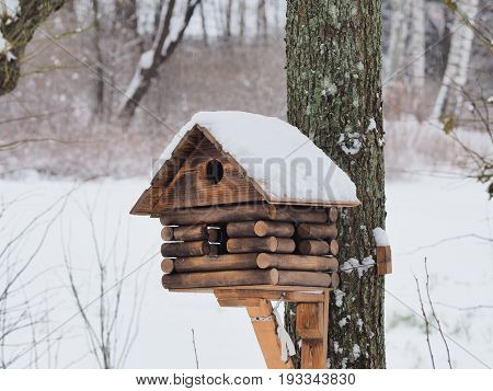 Big beautiful birdfeeder build like old izba house placed in winter park covered with snow