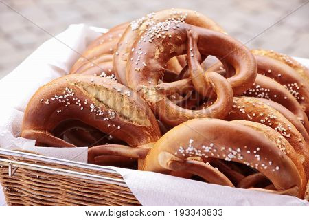 Close up of a tray with many pretzels