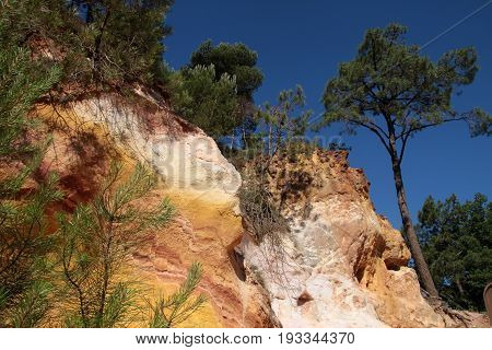 Ocher cliffs of Roussillon in the Luberon Provence France