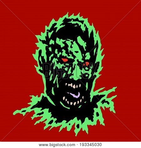 Frenzy zombie head. Horror image. Vector illustration