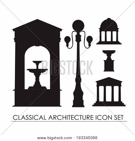 Vector collection of classical small architectural forms isolated on background. Vector template for business card and banner.