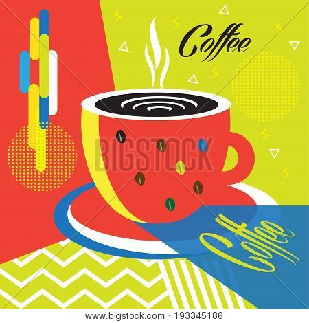 Coffee cup abstract artistic background. Hot Coffee mug futuristic banner, modern art for business brochure, bar, menu cafe cover minimal design, business card, price tag, envelope, poster, texture vector