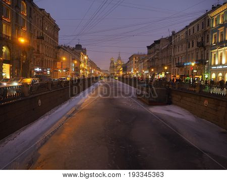A view of Griboedov channel (St. Petersburg, Russia)