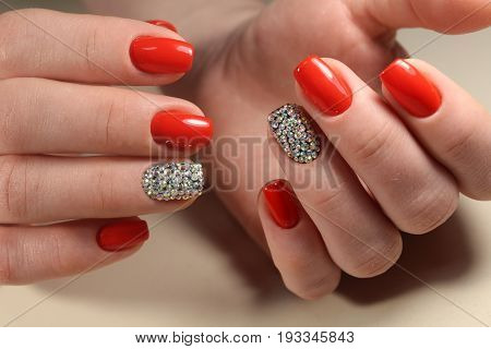 Bright Red Manicure With Peas