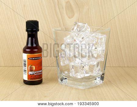 Spencer WisconsinJune 30 2017 Bottle of Dekuyper Peachtree Schnapps Dekuyper is a Dutch held company