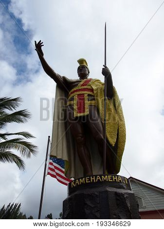 King Kamehameha Statue in historic town Kapaau. The statue is in front of the North Kohala Civic Center stands the original King Kamehameha I Statue erected not far from where Hawaii's greatest king was born. A great warrior diplomat and leader King Kameh