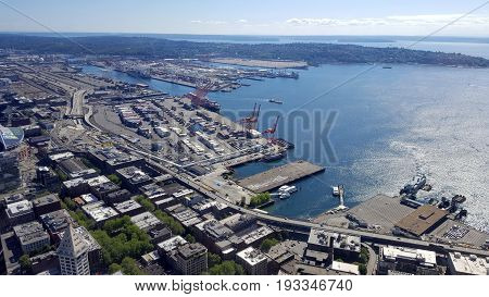 SEATTLE-- JUNE 25: Big beautiful view of Seattle downtown Stadiums and waterfront from a high vantage point on June 24 2016 in Seattle WA.