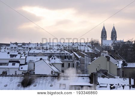 Old town of Wiesbaden at winter time Hesse Germany