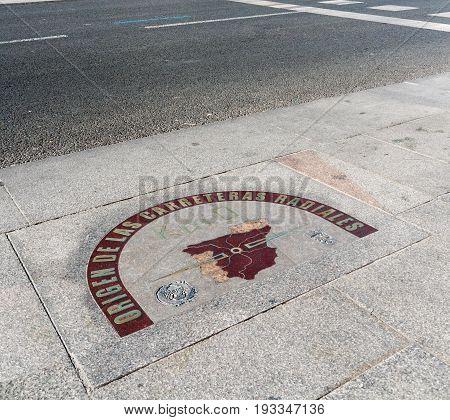 The kilometro cero (kilometre zero) on the pavement in Puerta del Sol square Madrid